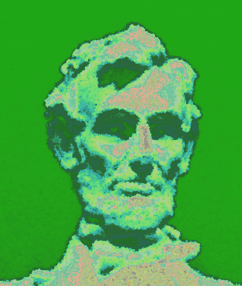 Stylized Lincoln from a high-res photo of his memorial. © 2013 Amillia Publishing Company.